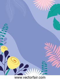 beautiful flowers and leaves over purple background, colorful design