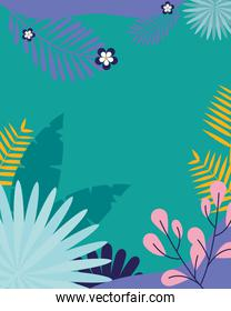 turquoise background with colorful leaves and flowers