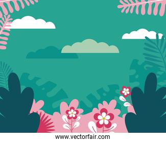 turquoise background with tropical leaves and flowers, colorful design