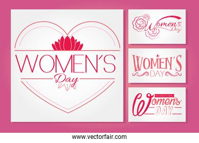 set of womens day lettering design, colorful design