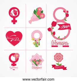 womens day icon set, colorful design