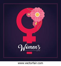 womens day design with female gender symbol with pink flowers around, colorful design