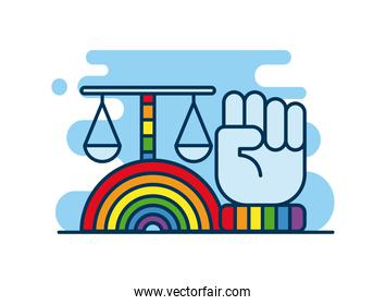 rainbow with lgtbi flag and scale flat style icon