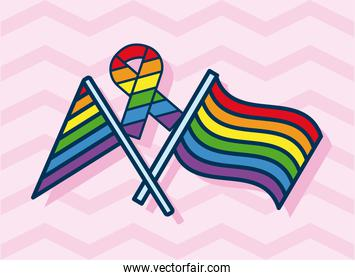 lgtbi flags and ribbon campaign flat style icon