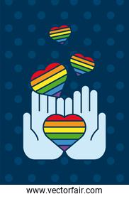hands lifting hearts with lgtbi flags flat style icon