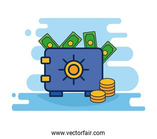 safe box bank with money flat style icon