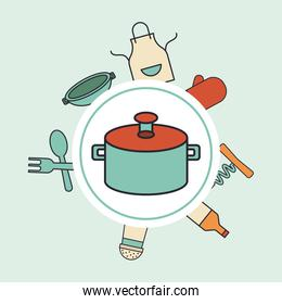 pot kitchen and set utensils line and colors style icons