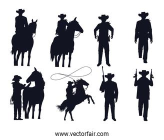 cowboys figures silhouettes with guns and horses