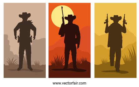 cowboys figures silhouettes with guns characters set scenes