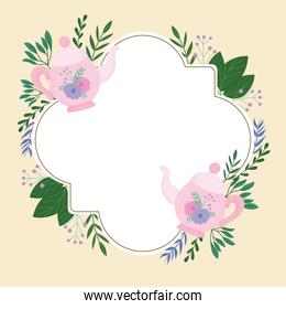Tea time, cute teapot flowers decoration wreath delicate label
