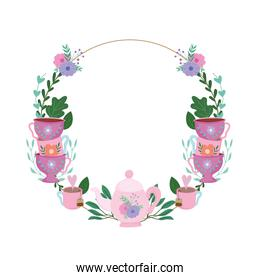 Tea time, floral wreath cups decoration flowers and leaves