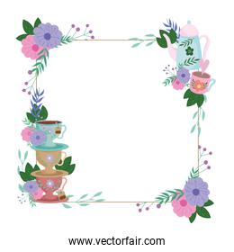 Tea time, decorative border with cups and flowers leaves plants