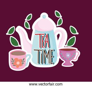 Tea time kettle and cups leaves mint nature herbal