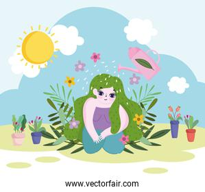 Gardening, watering can sprays water to green hair girl, plants flowers and foliage