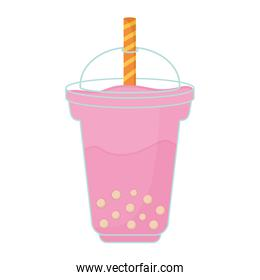 milkshake with a pink color and bubbles