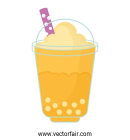 asian taiwanese drink with a yellow color and bubbles
