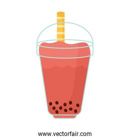 asian taiwanese drink with a red color and bubbles