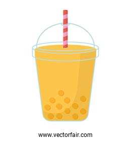 milkshake with a yellow color and bubbles