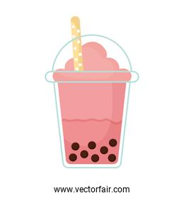 bubble tea with a pink color and bubbles