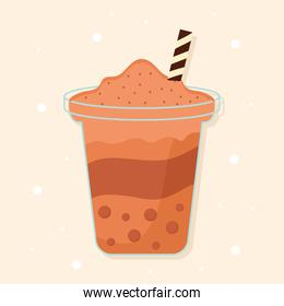 asian taiwanese drink with a orange color and bubbles on a beige background