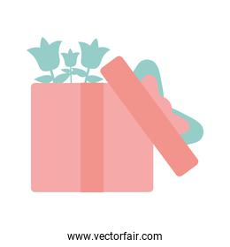 gift box with green flowers isolated icon