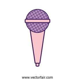 purple microphone on a white background