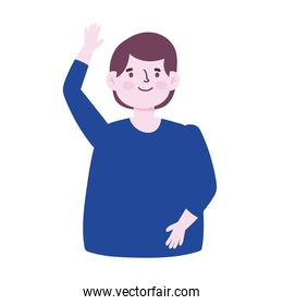 portrait cartoon man waving hand young male character