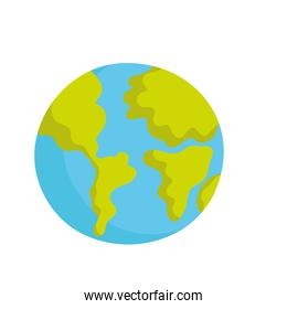 world planet map cartoon icon isolated style white background