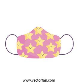 face protective mask with stars print, new normal icon covid 19 protection