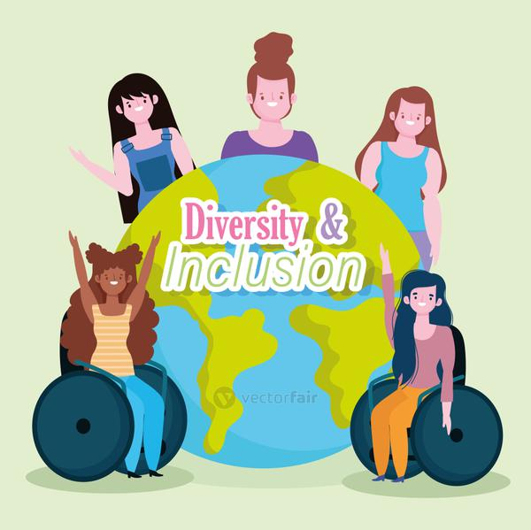 diverse modern girls together and disabled girl sitting in a wheelchair, inclusion