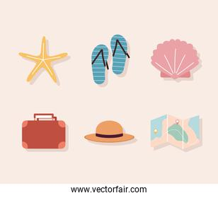 set of travel icons on a pink background