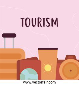 tourism lettering and bundle of travel icons