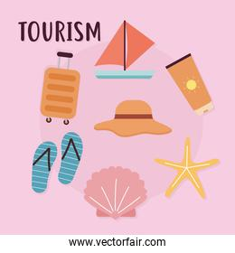 tourism lettering and set of travel icons