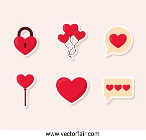 bundle of valentine day icons in pink background