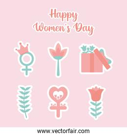 happy womens day lettering and set of beautiful womens day icons