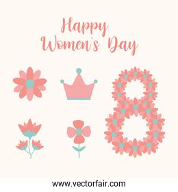 happy womens day lettering and bundle of womens day icons