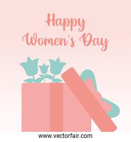 happy womens day poster with gift box