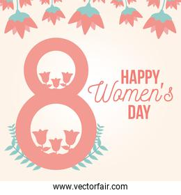 happy womens day lettering and pink number eight