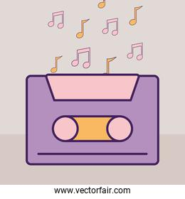purple cassette and music notes