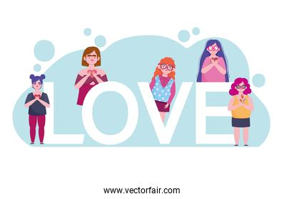 diversity women group and lettering cartoon character self love