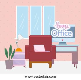 home office interior chair desk computer lamp and plant