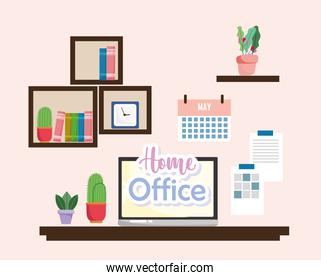 home office interior laptop cactus shelves with books clock and calendar on the wall