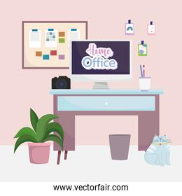 home office interior desk computer camera sticky note in cork board cat and plant