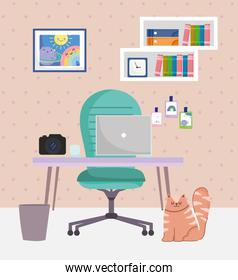 office and working from home interior desk chair camera laptop cat and trash can