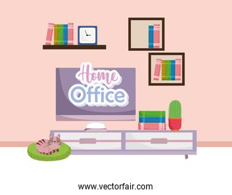 home office interior furniture with computer cactus shelves clock books and cat resting