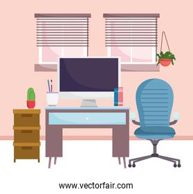 home office interior furniture computer chair cabinet plants and windows