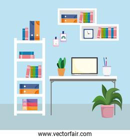 home office interior workspace desktop computer shelf with books and plant