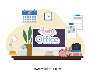 home office interior computer desk camera books lamp plant calendar and clock on wall