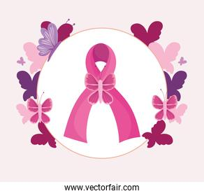 Breast cancer pink ribbon butterflies prevention campaign banner