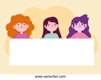 cartoon young women characters holds blank banner